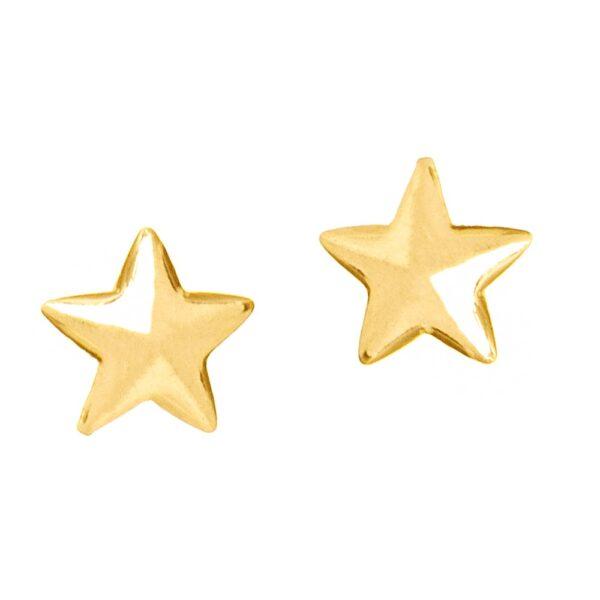 Brinco pequeno segundo furo semijoia estrela folheado a ouro 18k