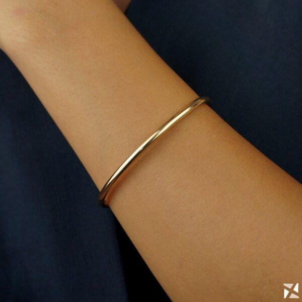 Bracelete Rígido Aberto Semi joia folheado em ouro 18k