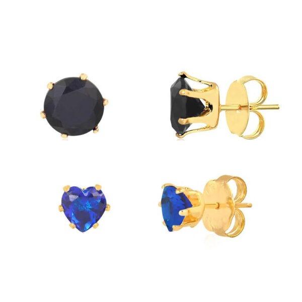 Kit de brincos bolinha preta e coração azul folheados em ouro 18k