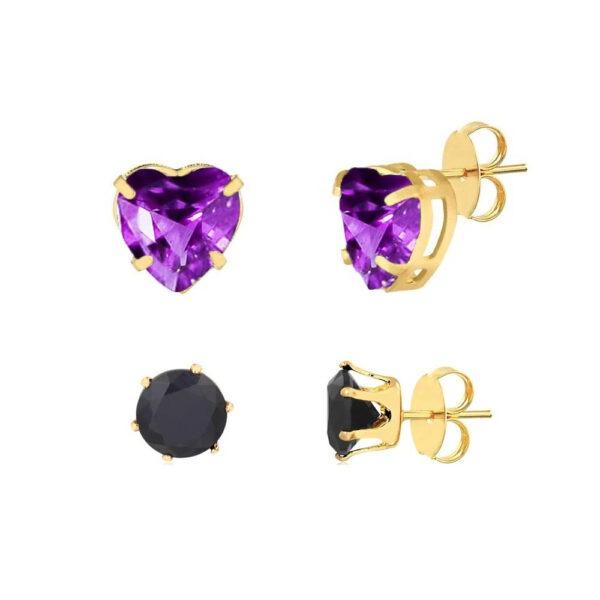 Kit de brincos coração lilás e bolinha preta folheados em ouro 18k