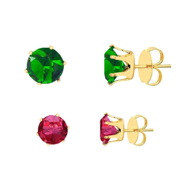 Kit de brincos de zircônia rubi e esmeralda folheados em ouro 18k