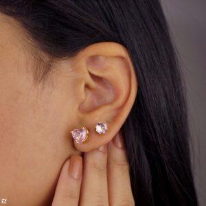 Kit de brincos coração zircônias rosa semijoia folheada a ouro 18k