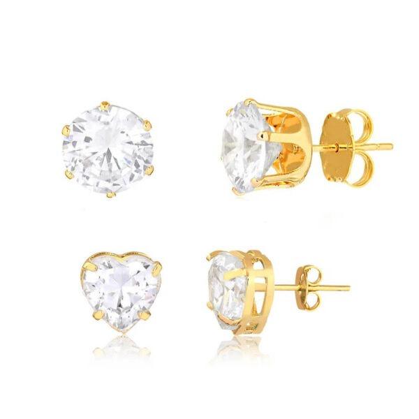 Kit de brincos coração zircônias cristal semijoia folheado a ouro 18k