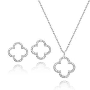 Conjunto colar e brinco flor cravejado banhado em ouro branco