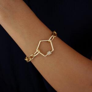 Pulseira elos com detalhe geométrico cravejado banhado em ouro 18k