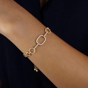 Pulseira com corrente circular e detalhes geométricos banhada em ouro 18k