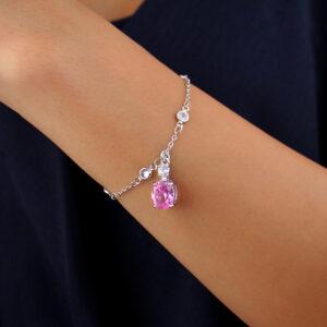 Pulseira ponto de luz e pingente zircônia rosa banhado em ouro branco