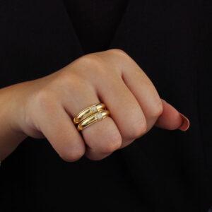 Kit de anel aparador com zircônias banhado em ouro 18k