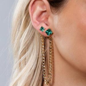 Brinco ear line com corrente e pedra verde banhado em ouro 18k