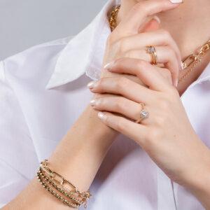 Bracelete fio torcido banhado em ouro 18k