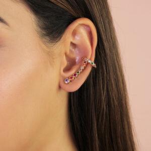 Brinco ear cuff com zircônias coloridas banhado em ouro 18k